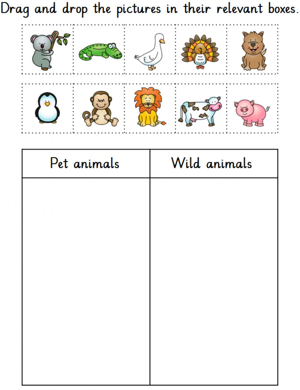 hight resolution of Pet and wild animals worksheet