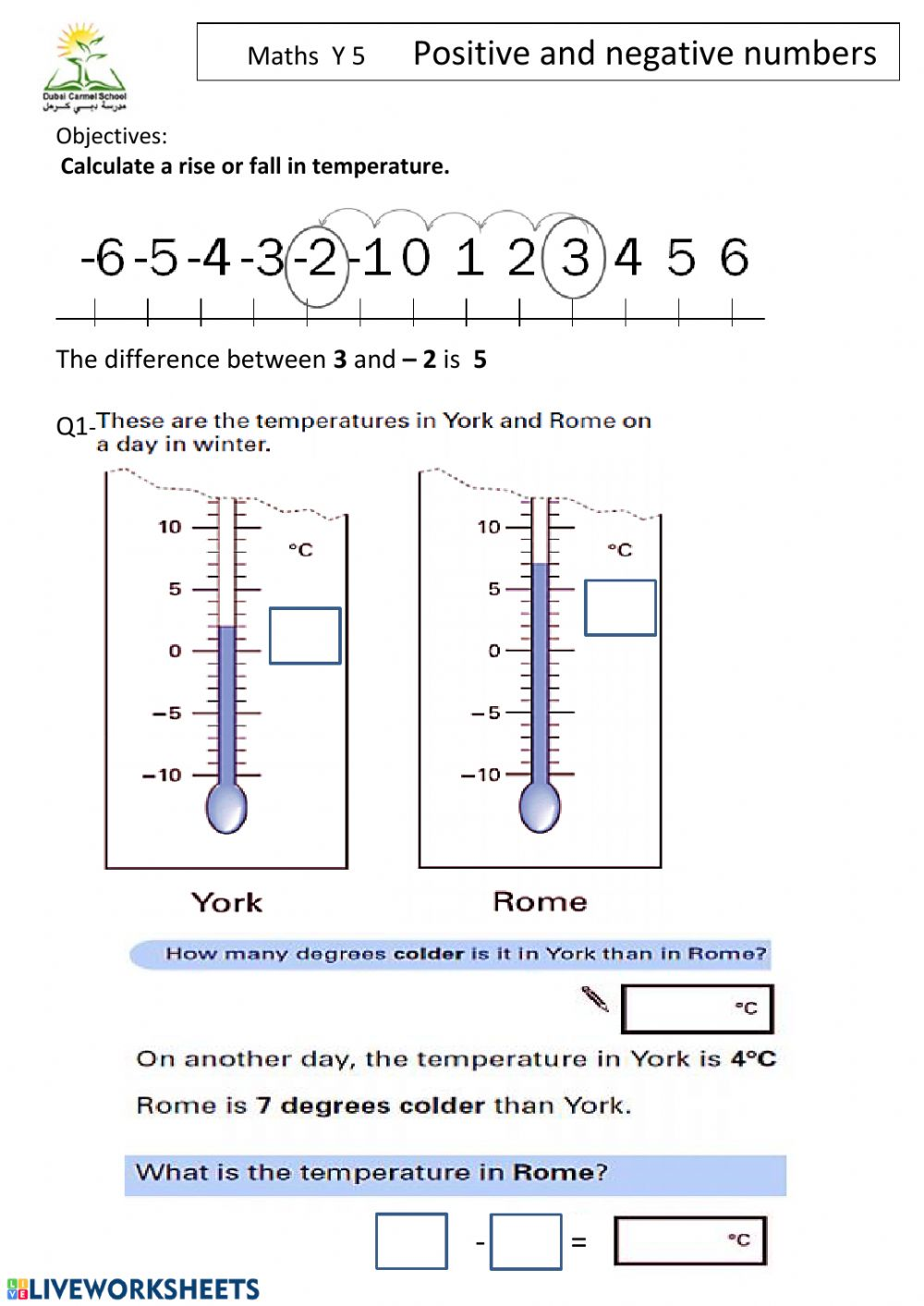 hight resolution of Positive and Negative numbers interactive worksheet