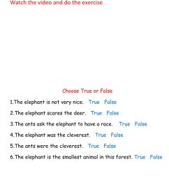 The Elephant and the ants worksheet [ 1413 x 1000 Pixel ]