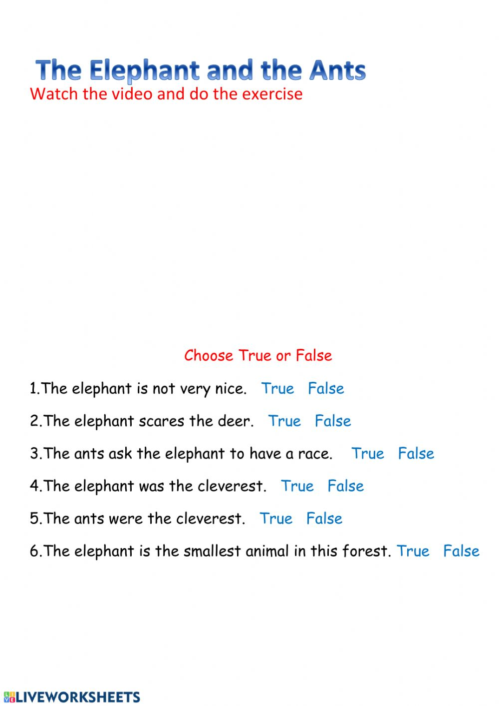 hight resolution of The Elephant and the ants worksheet