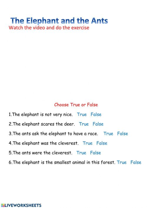small resolution of The Elephant and the ants worksheet