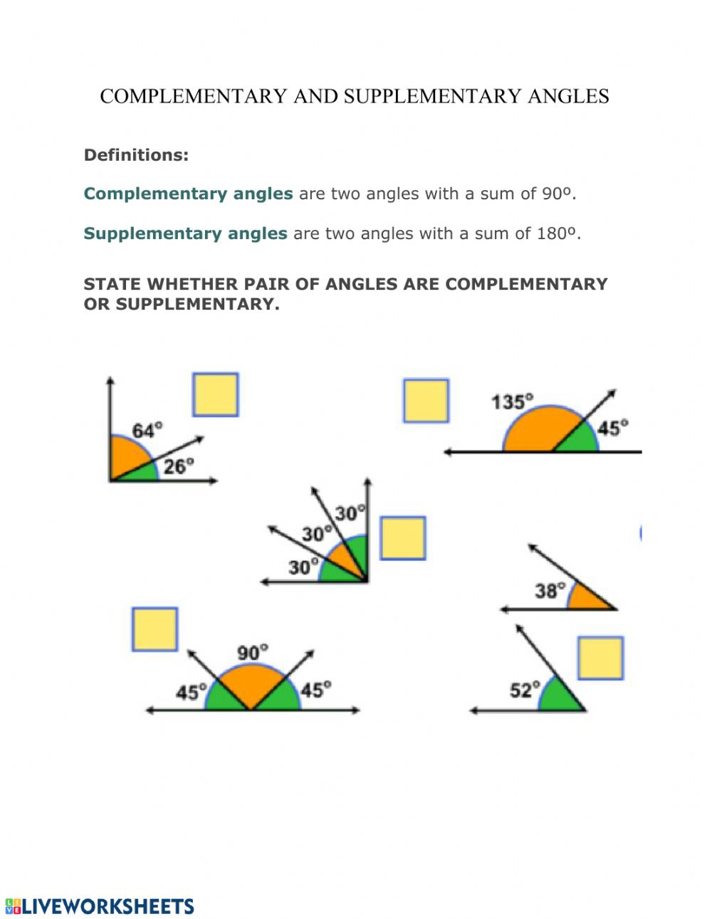 hight resolution of Complementary and Supplementary angles worksheet