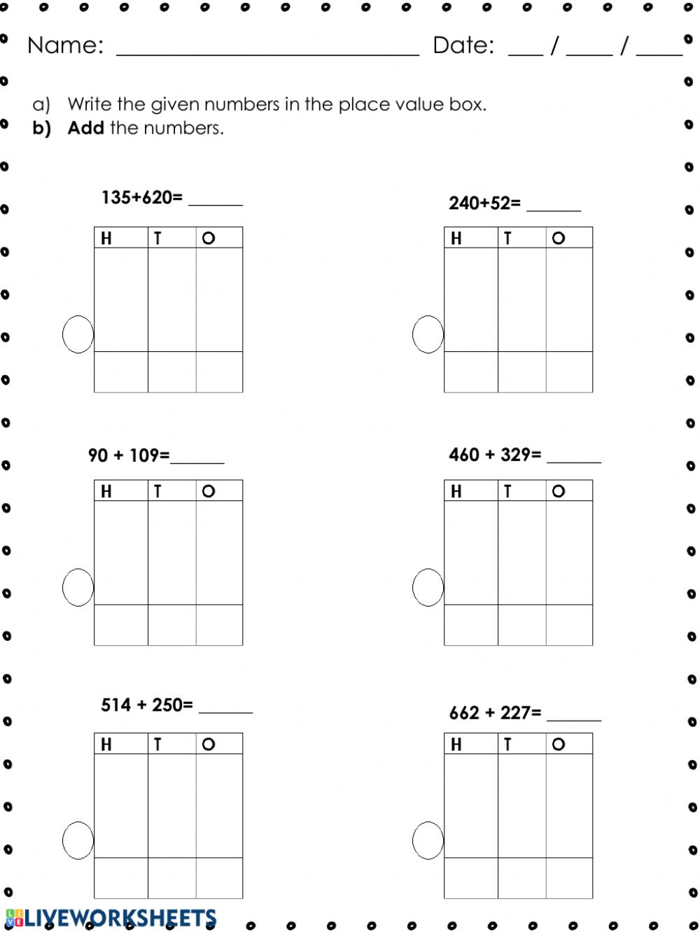 hight resolution of 3-digit numbers addition worksheet