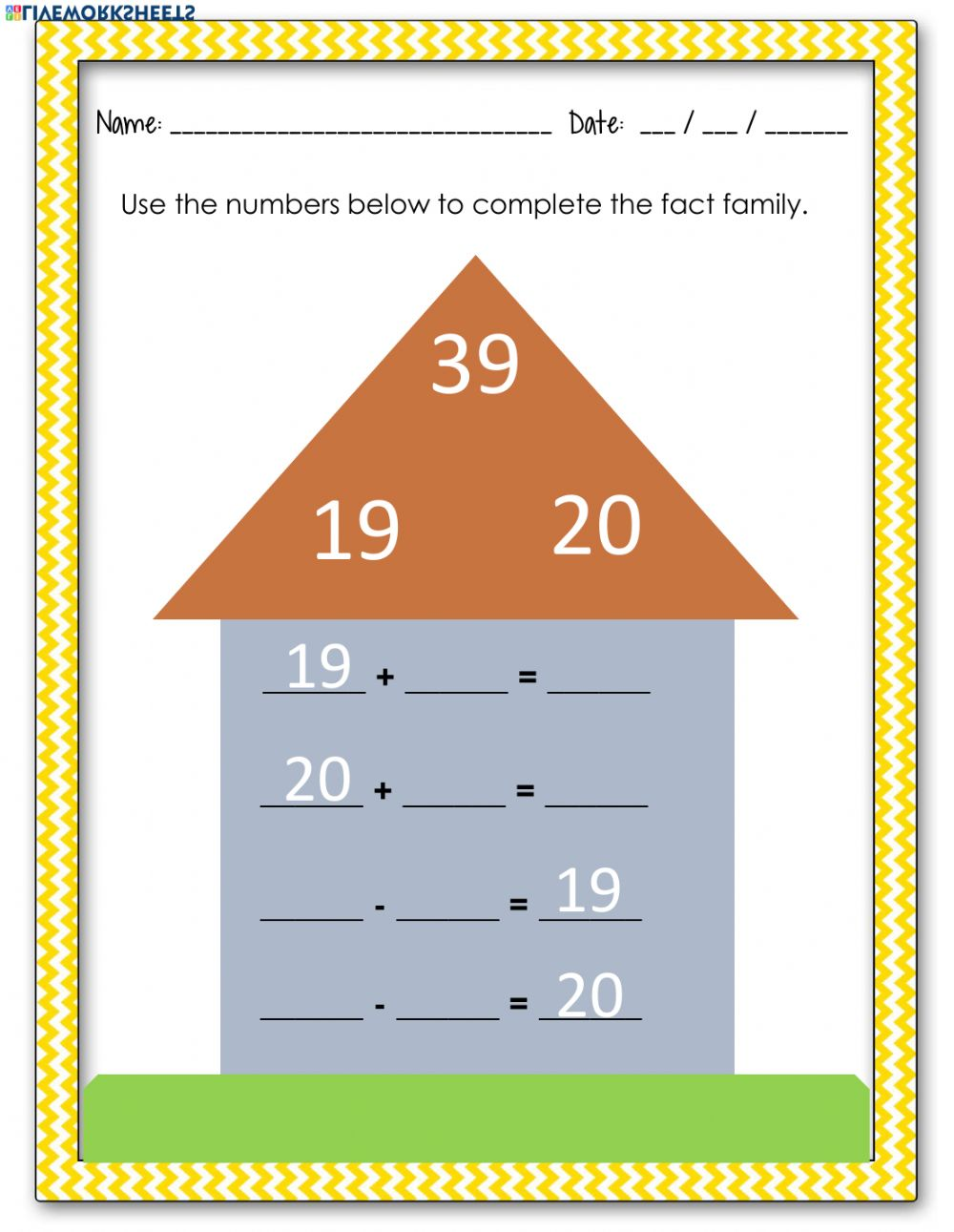 hight resolution of Fact Families worksheet