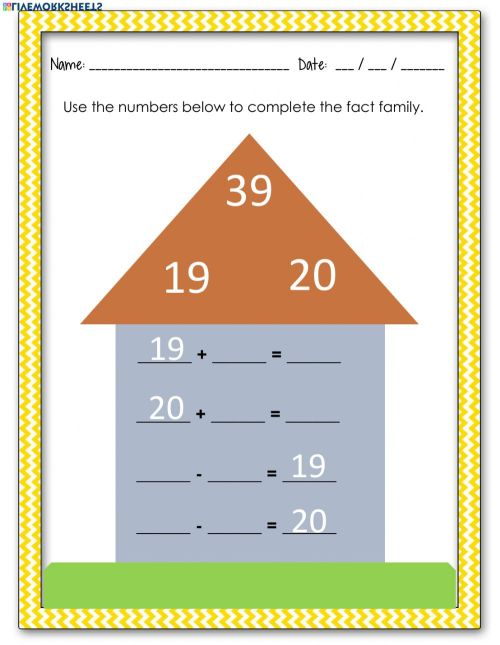 small resolution of Fact Families worksheet