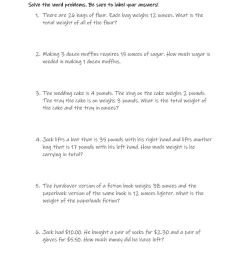 Weight and Money Word Problems worksheet [ 1291 x 1000 Pixel ]