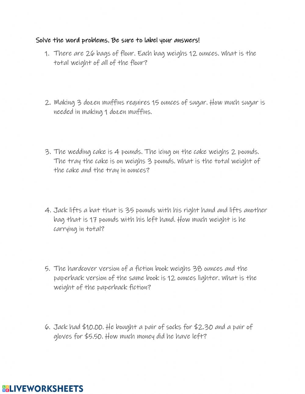 hight resolution of Weight and Money Word Problems worksheet