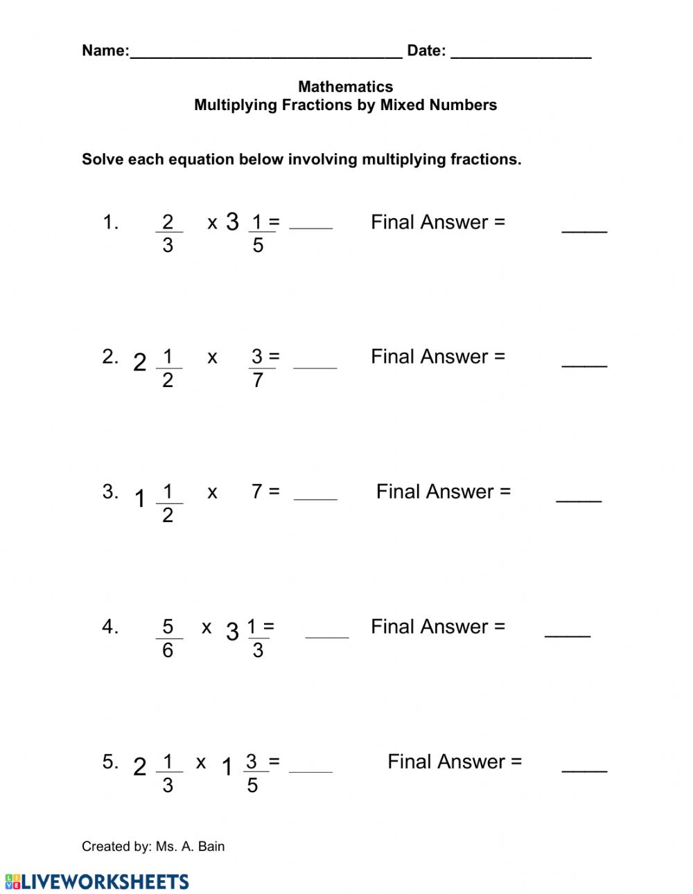 hight resolution of Multiplying Fractions by a Mixed Number worksheet