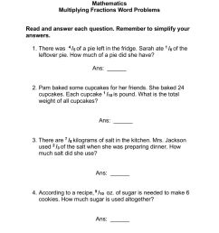 Multiplying Fractions Words Problems worksheet [ 1291 x 1000 Pixel ]