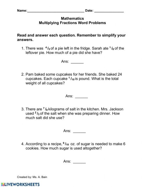 small resolution of Multiplying Fractions Words Problems worksheet
