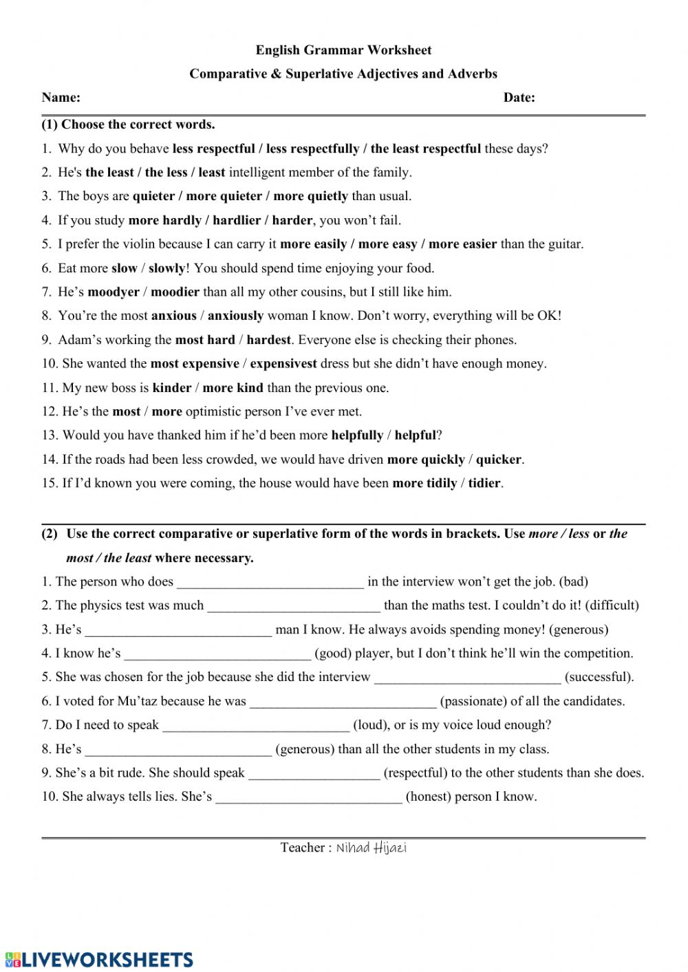 hight resolution of Comparative and Superlative Adjectives and Adverbs worksheet