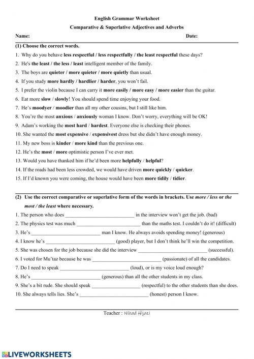 small resolution of Comparative and Superlative Adjectives and Adverbs worksheet