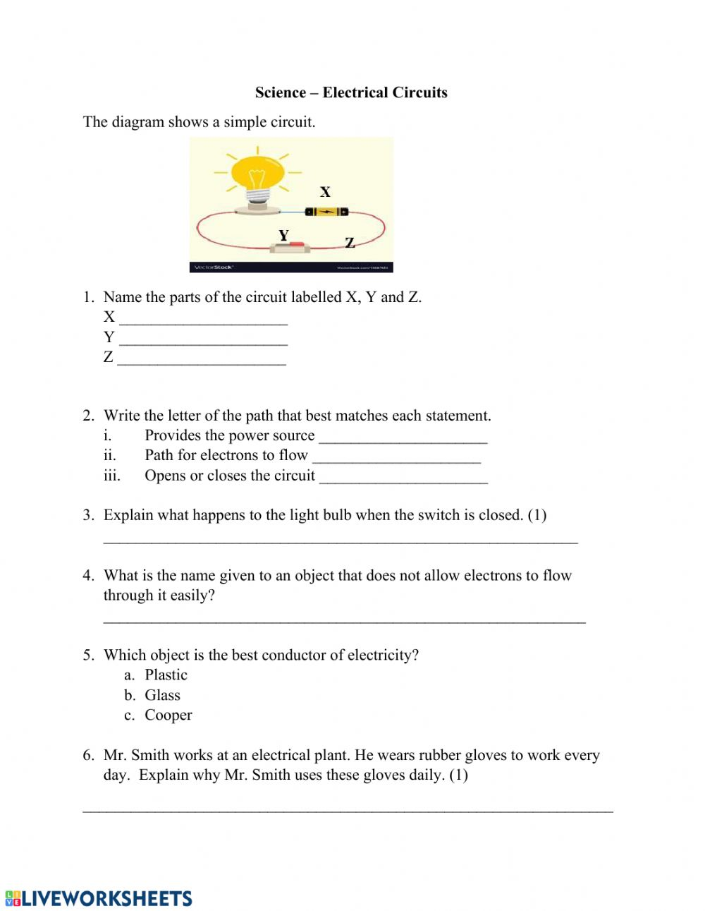 hight resolution of Simple Electric Circuit worksheet