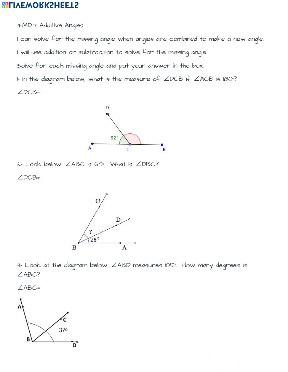 hight resolution of 4.MD.7 Additive angles worksheet