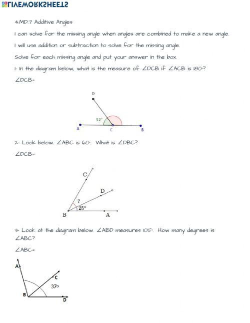 small resolution of 4.MD.7 Additive angles worksheet