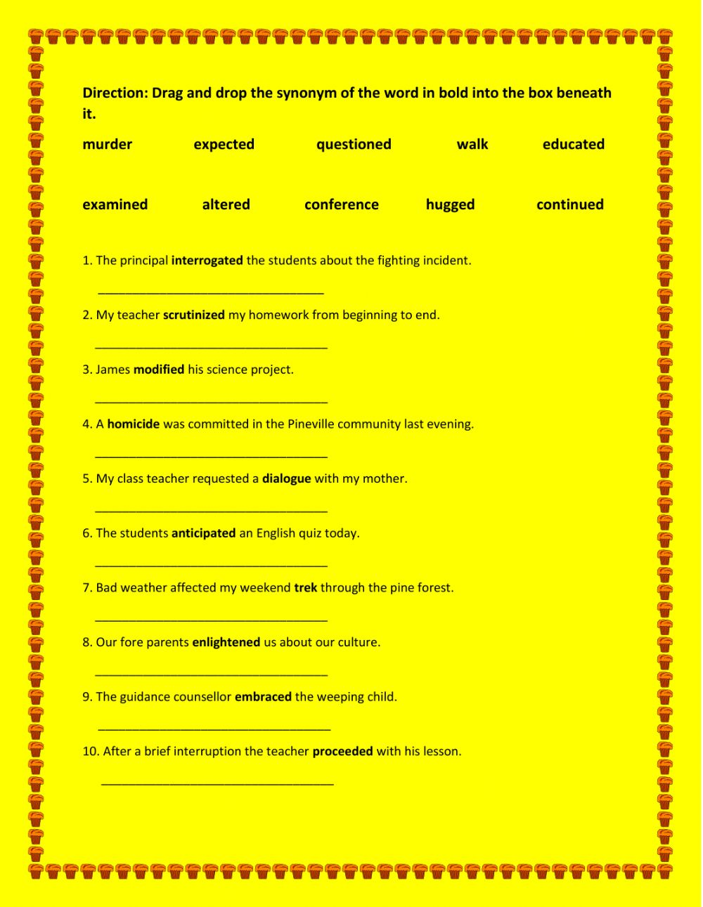 hight resolution of Synonyms