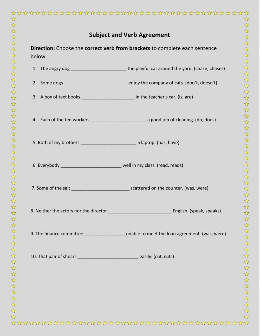 medium resolution of Subject and Verb Agreement 2 worksheet