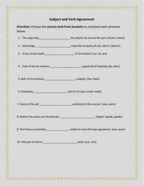small resolution of Subject and Verb Agreement 2 worksheet