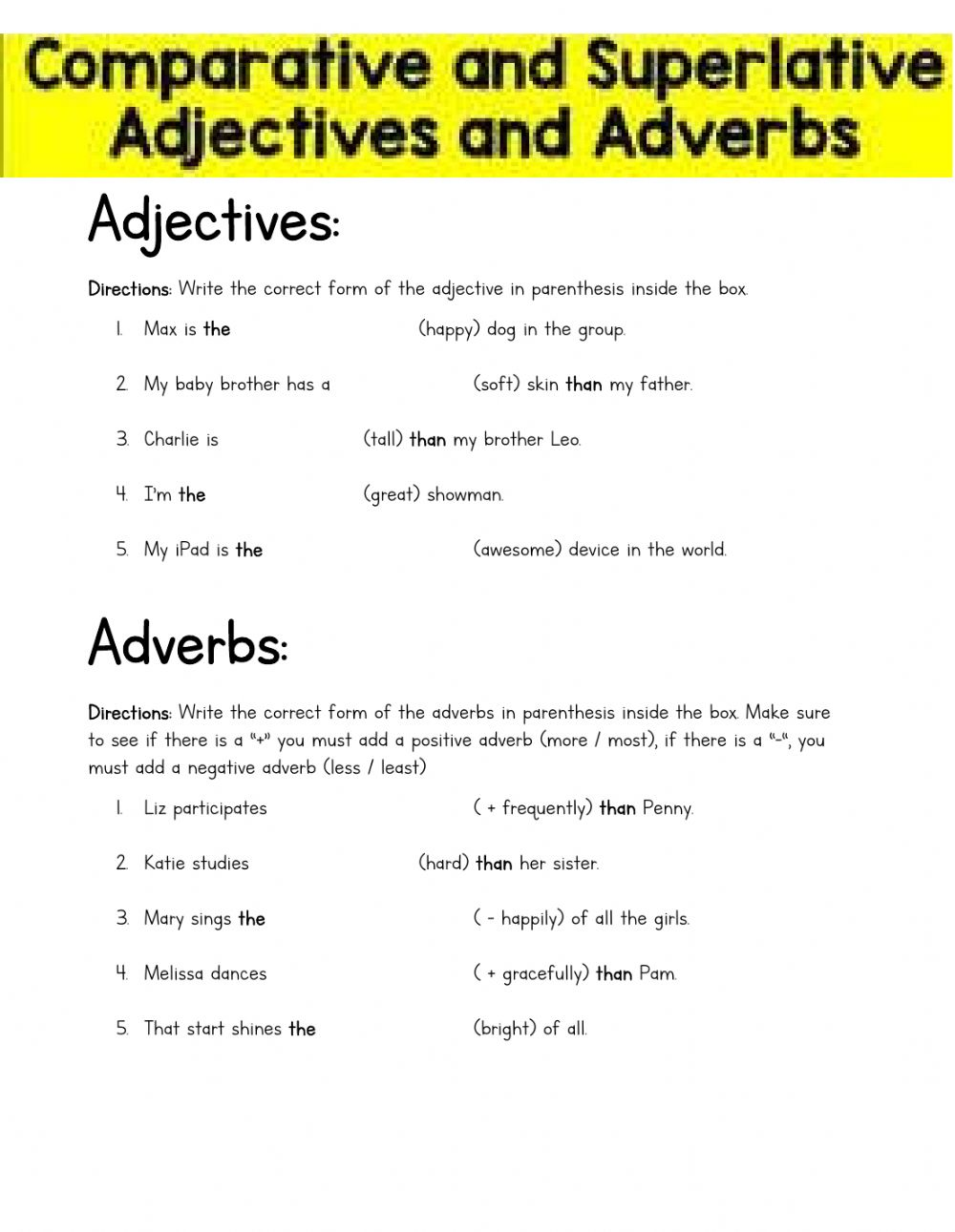 medium resolution of Comparative and Superlative Adjectives and Adverbs (4th grade) worksheet