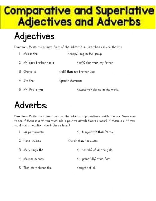 small resolution of Comparative and Superlative Adjectives and Adverbs (4th grade) worksheet