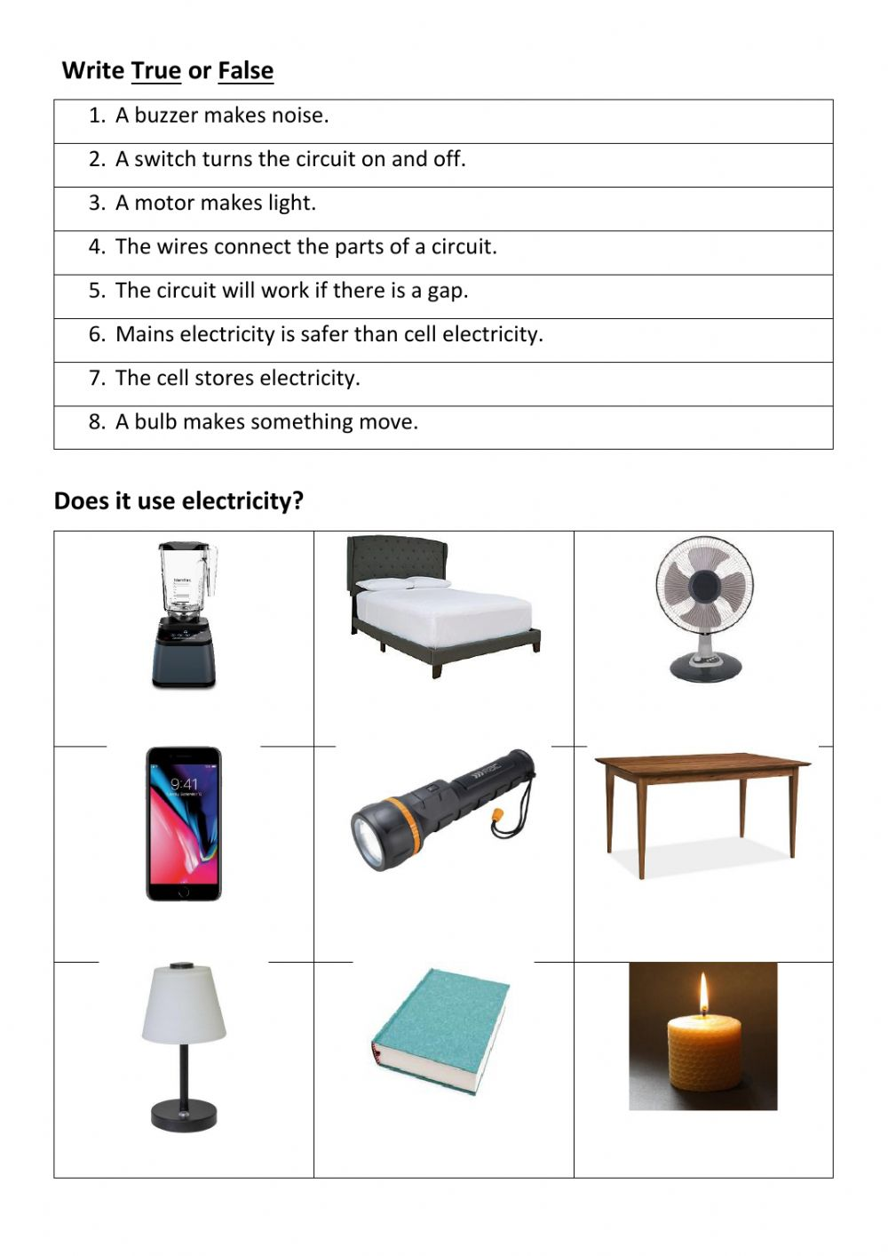 hight resolution of Electricity Review worksheet