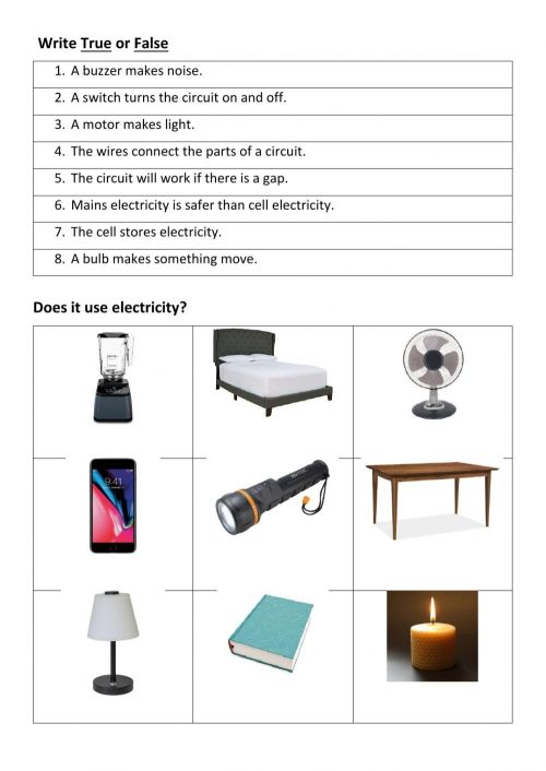 small resolution of Electricity Review worksheet