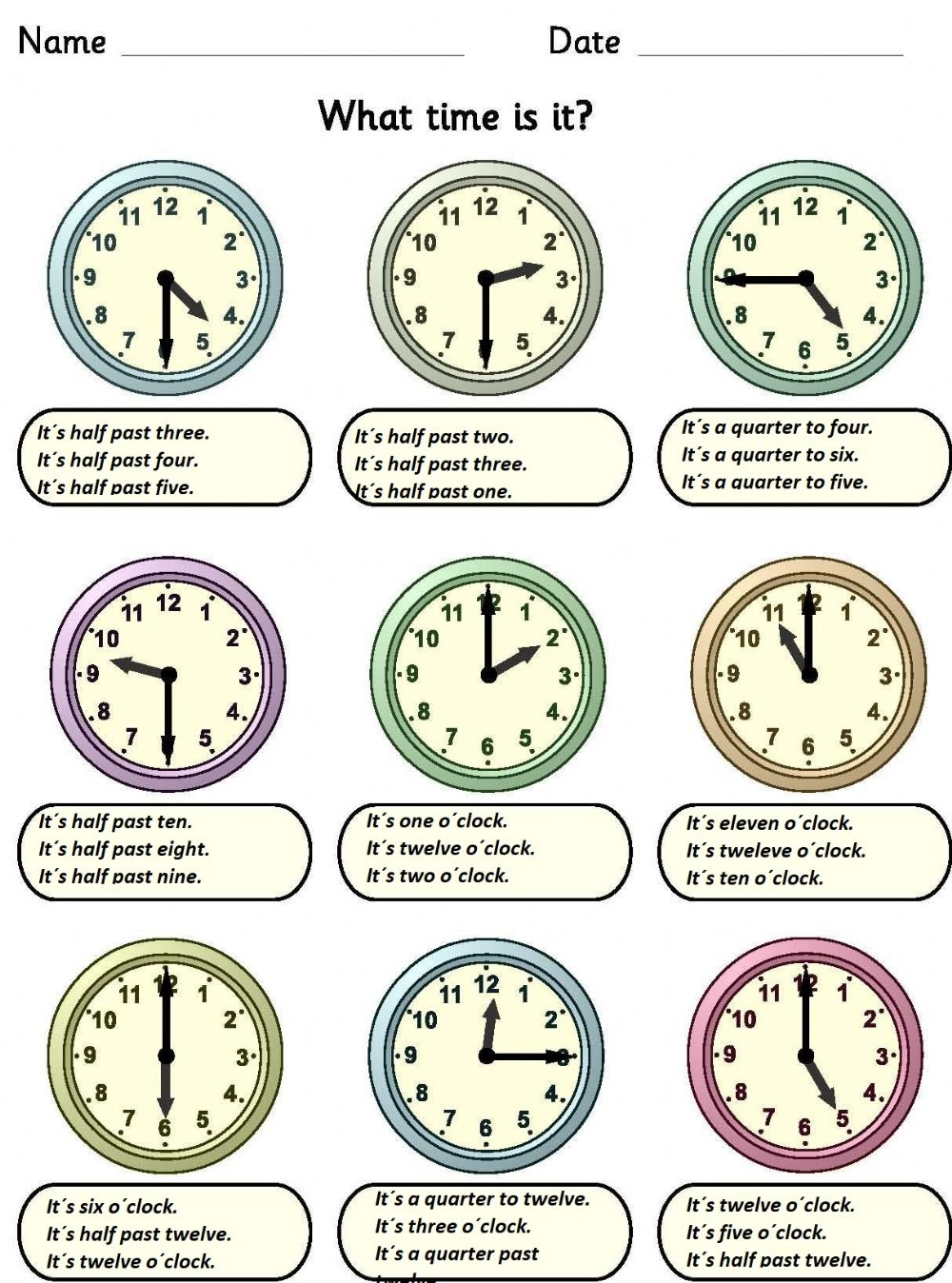 hight resolution of What time is it? interactive activity for Grade 4