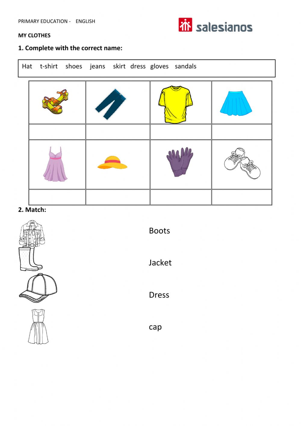 medium resolution of Clothes online exercise for GRADE 1
