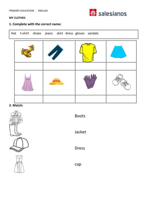 small resolution of Clothes online exercise for GRADE 1