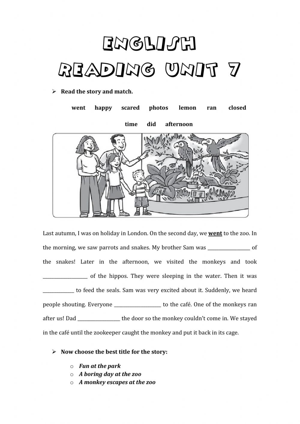 hight resolution of Reading online exercise for Grade 4