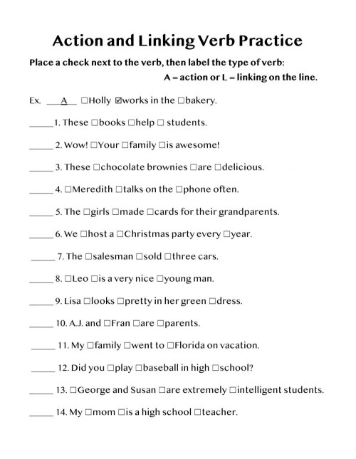 small resolution of Action or Linking Verb worksheet
