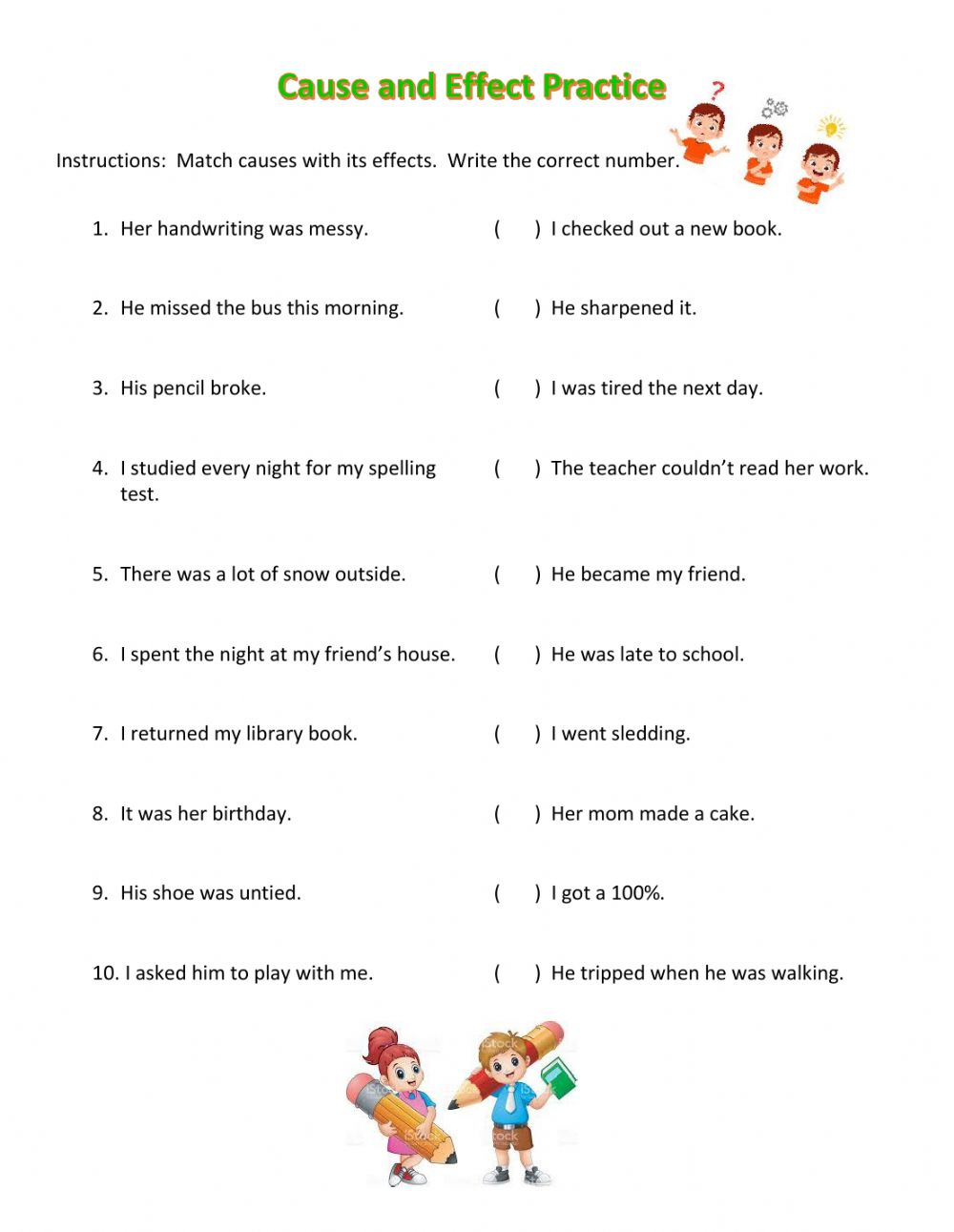 hight resolution of Cause and effect match worksheet