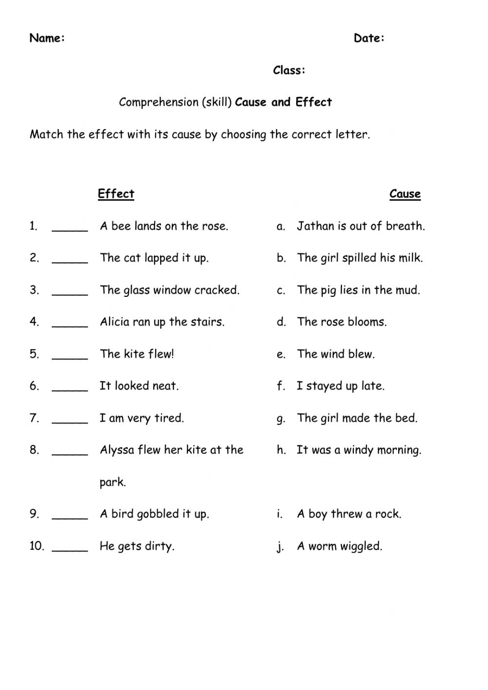 hight resolution of Cause and Effect exercise