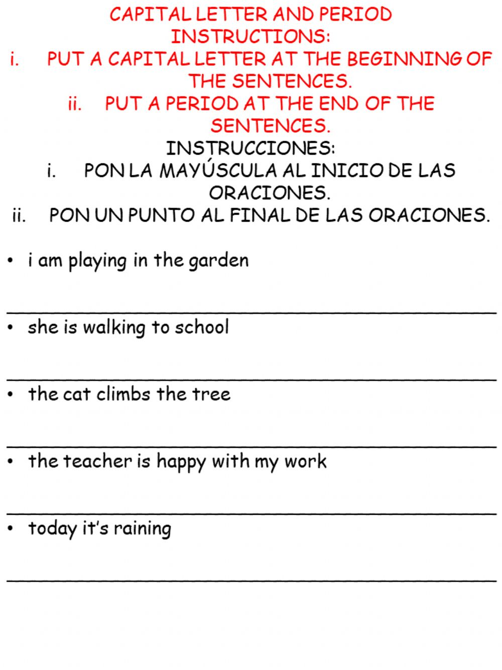 medium resolution of Capital letter and period worksheet