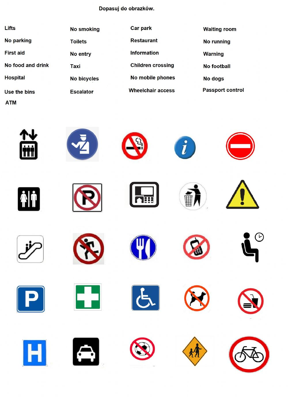 hight resolution of Signs and symbols worksheet