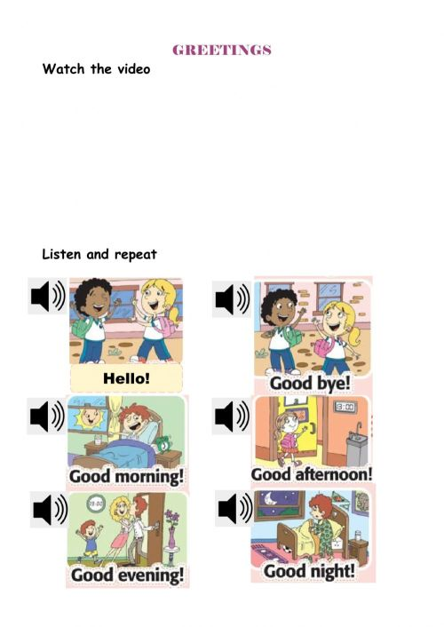 small resolution of Greetings interactive worksheet for Grade 1