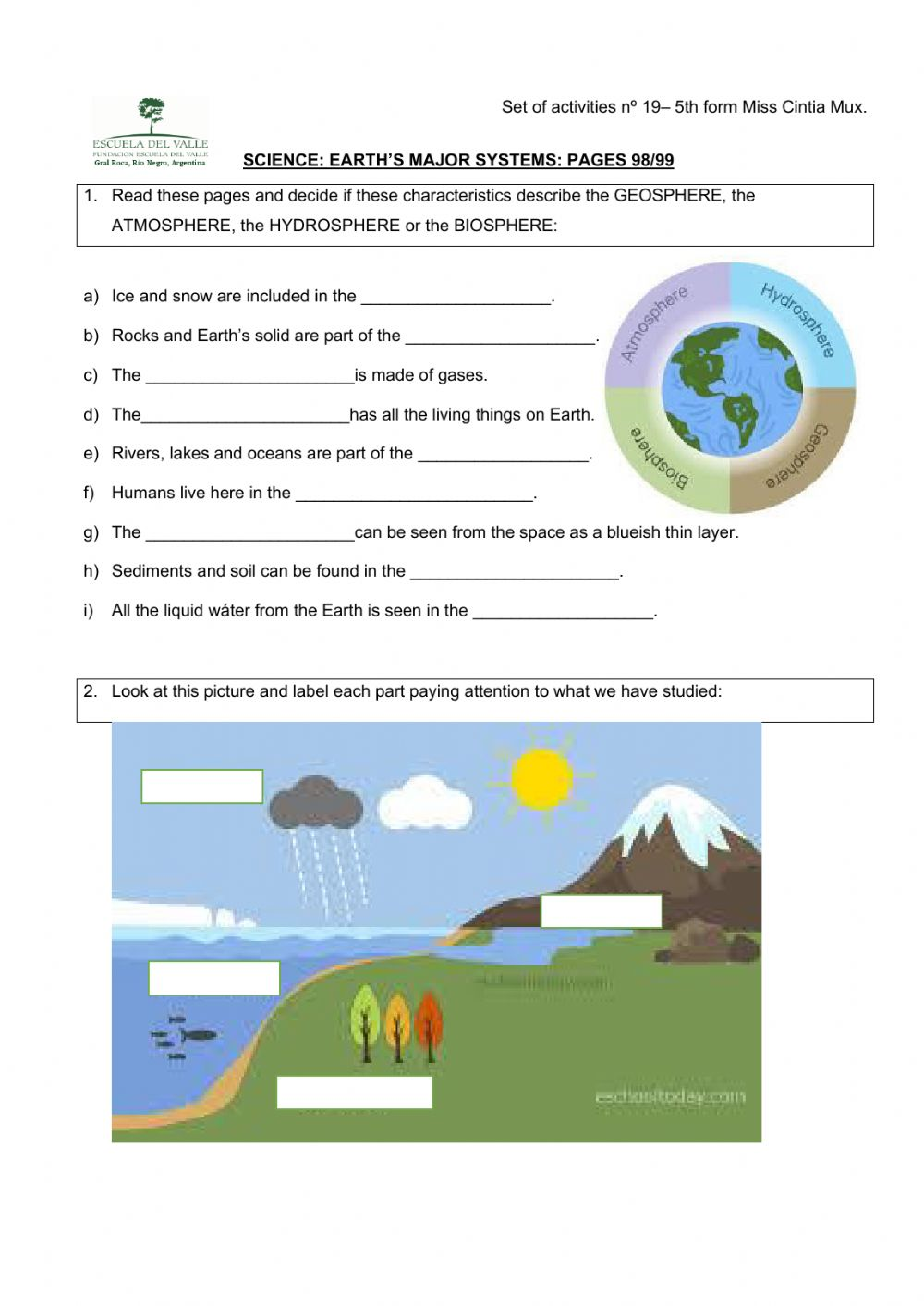 hight resolution of Four earth's systems worksheet
