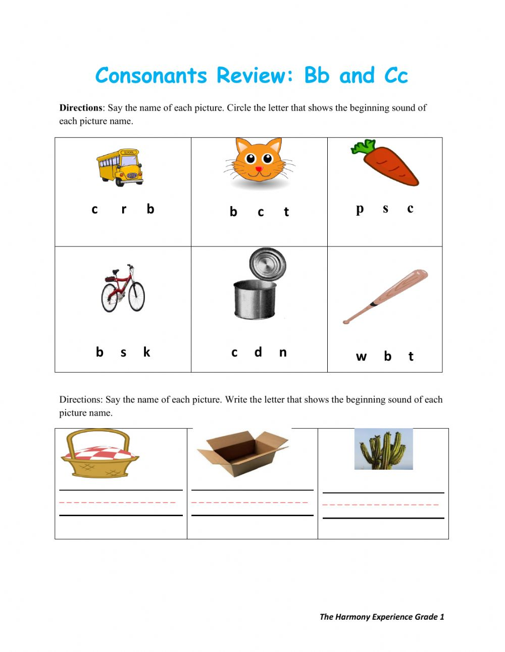 hight resolution of Consonants Review Bb and Cc worksheet