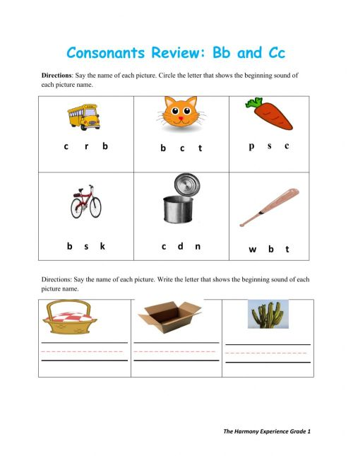 small resolution of Consonants Review Bb and Cc worksheet