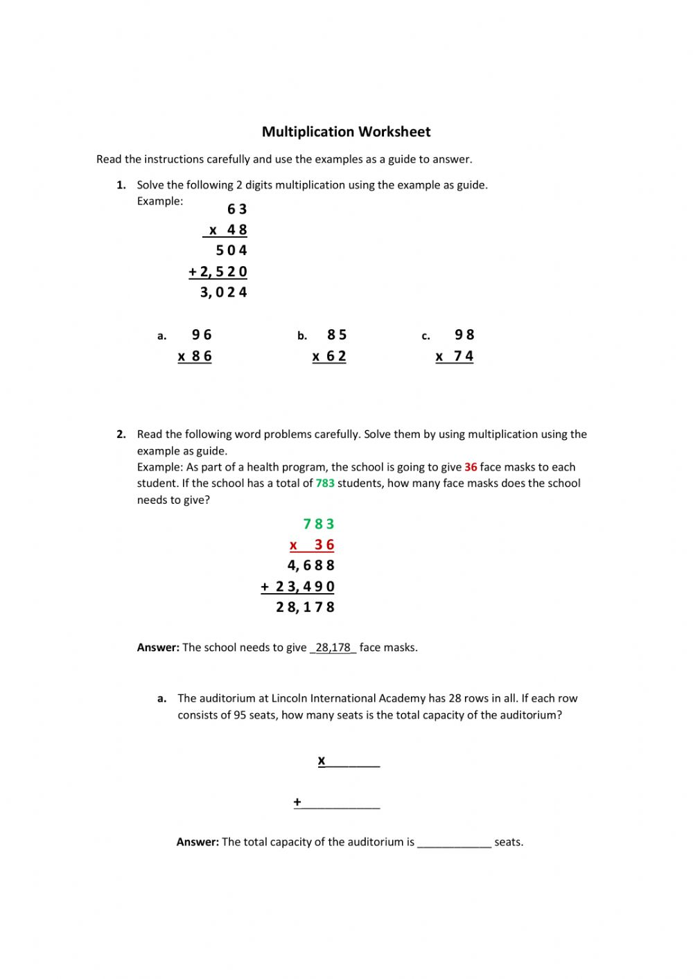 medium resolution of Multiplication word problems 5th grade worksheet