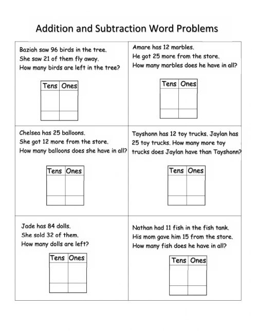 small resolution of Addition and Subtraction Word Problems interactive worksheet