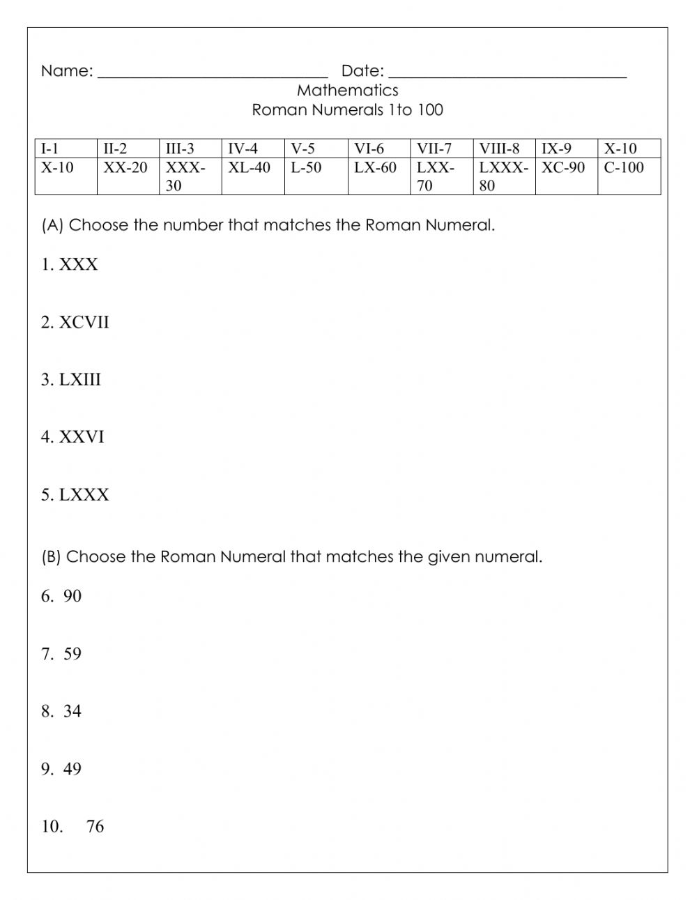hight resolution of Roman Numerals interactive worksheet