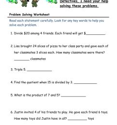 Worded Problem Solving worksheet [ 1291 x 1000 Pixel ]