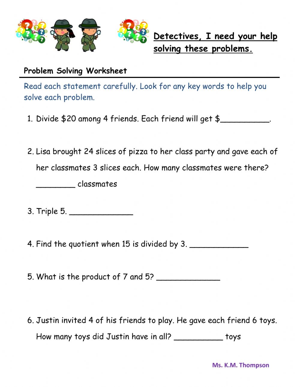 medium resolution of Worded Problem Solving worksheet