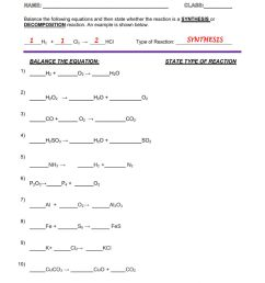 CHEMICAL REACTIONS - SYNTHESIS AND DECOMPOSITION worksheet [ 1413 x 1000 Pixel ]