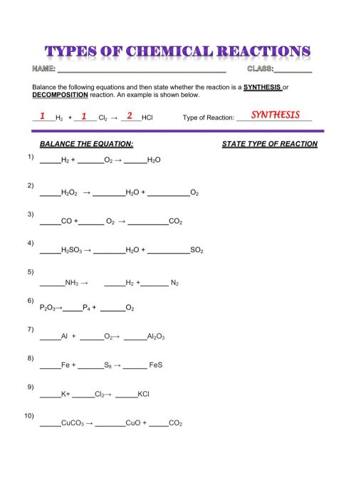 small resolution of CHEMICAL REACTIONS - SYNTHESIS AND DECOMPOSITION worksheet