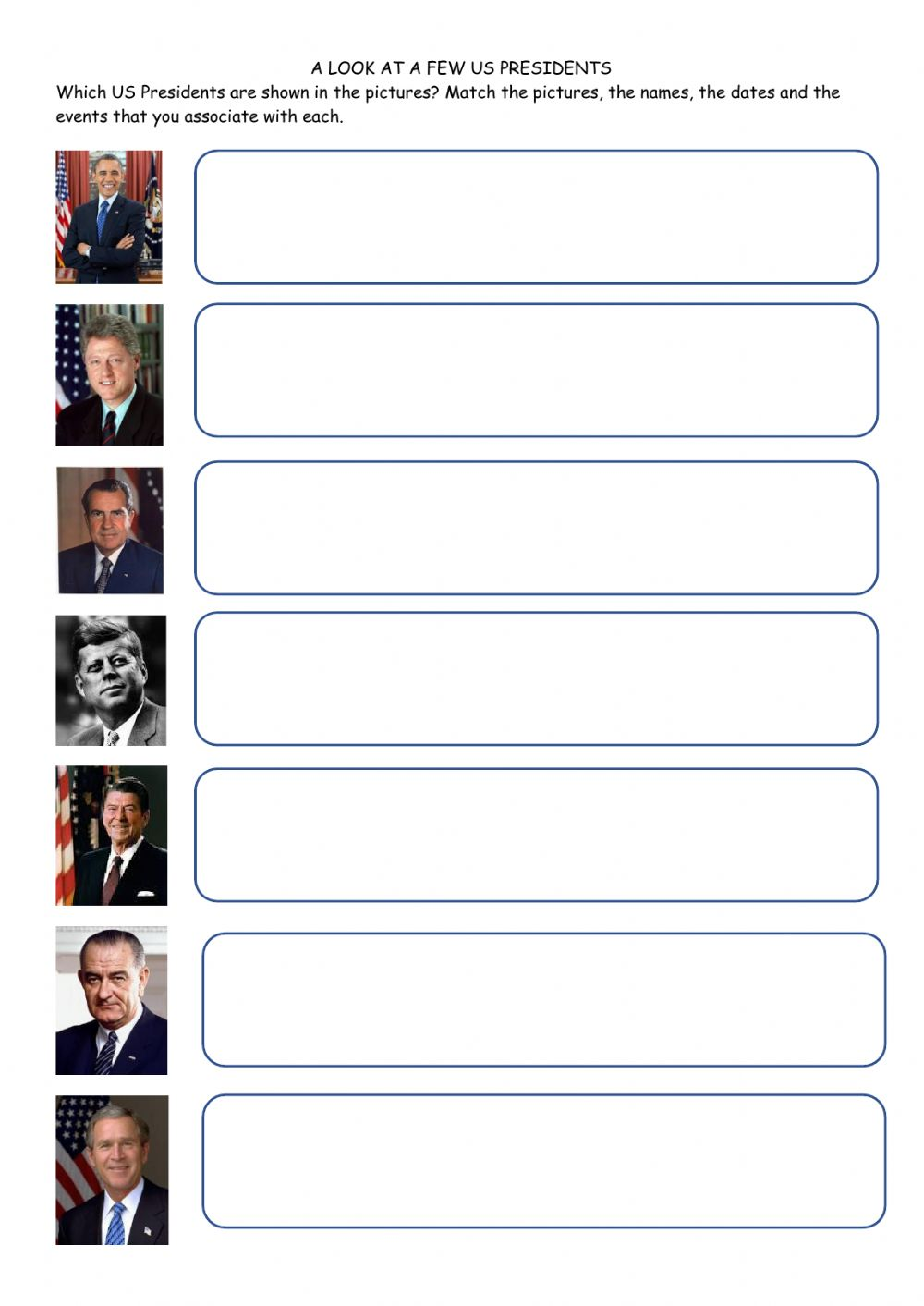 medium resolution of A few US Presidents worksheet