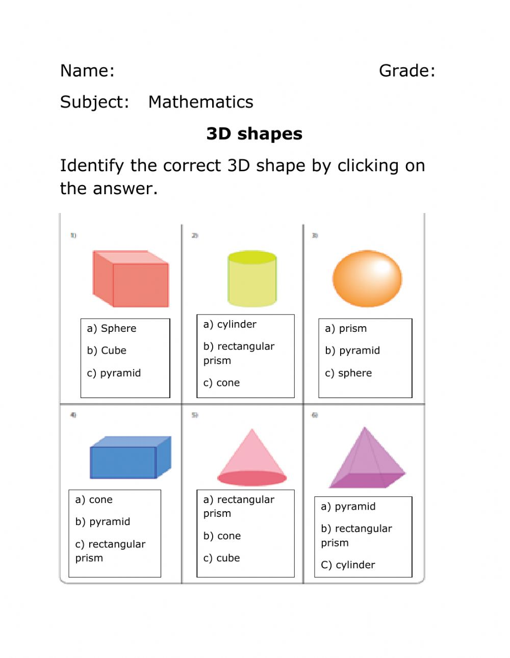 hight resolution of 3D Shapes activity