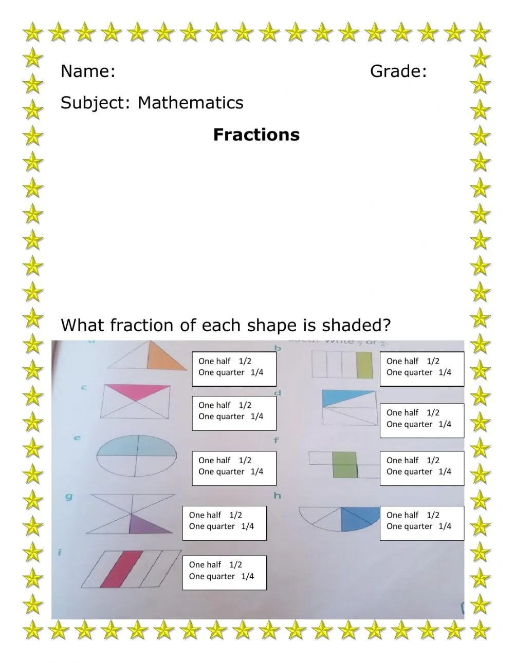 medium resolution of Fractions worksheet for 1