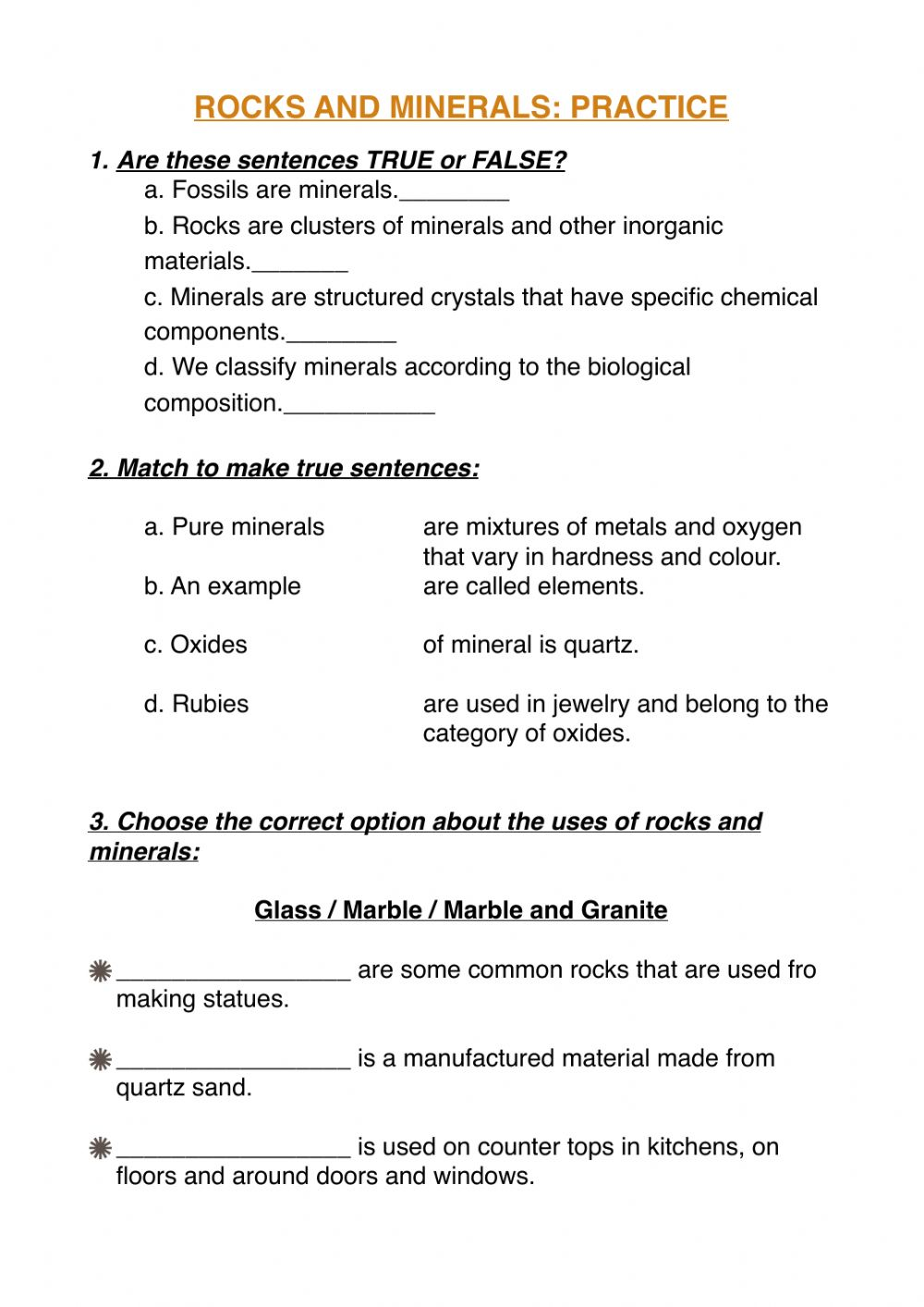 hight resolution of Rocks and mineral practice worksheet